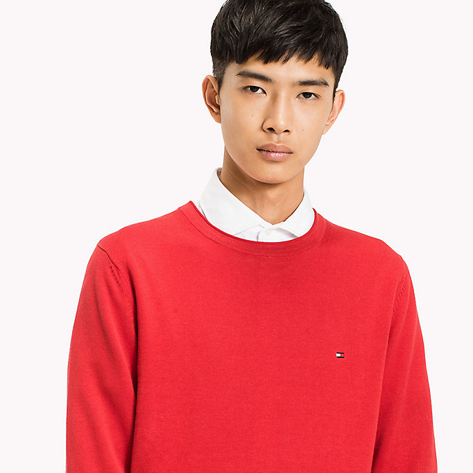 TOMMY HILFIGER Cotton Linen Crew Neck Jumper - SNOW WHITE - TOMMY HILFIGER Men - detail image 2