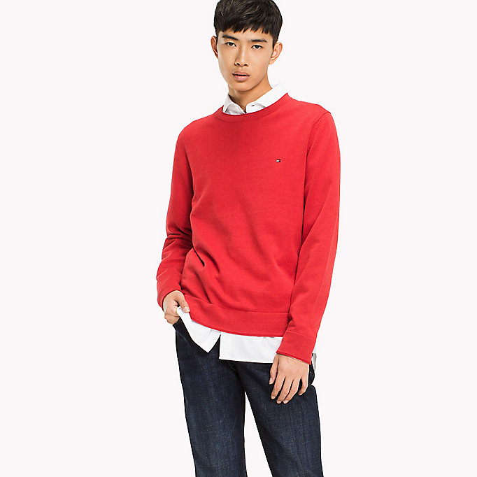 TOMMY HILFIGER Cotton Linen Crew Neck Jumper - SNOW WHITE - TOMMY HILFIGER Clothing - main image