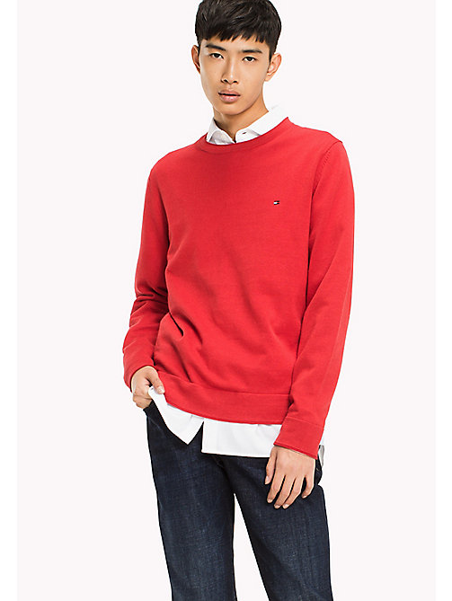 TOMMY HILFIGER Cotton Linen Crew Neck Jumper - HAUTE RED - TOMMY HILFIGER Jumpers - main image