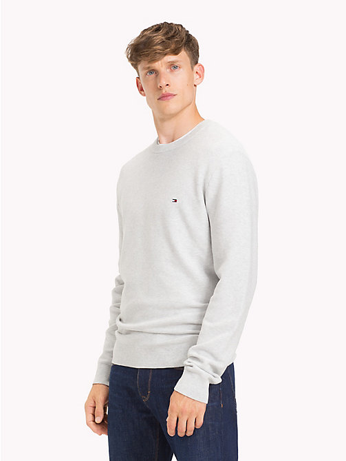 TOMMY HILFIGER Crew Neck Cotton  Jumper - GRAY VIOLET HEATHER - TOMMY HILFIGER Jumpers - main image