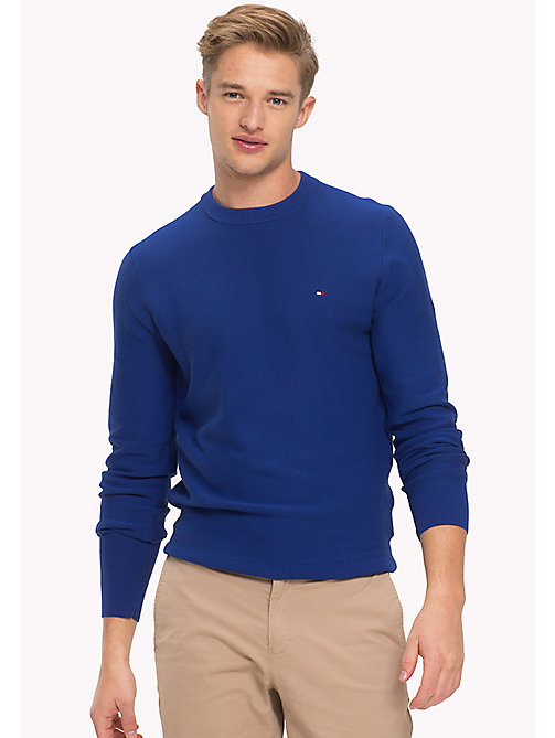 Crew Neck Cotton  Jumper - SODALITE BLUE - TOMMY HILFIGER Clothing - main image