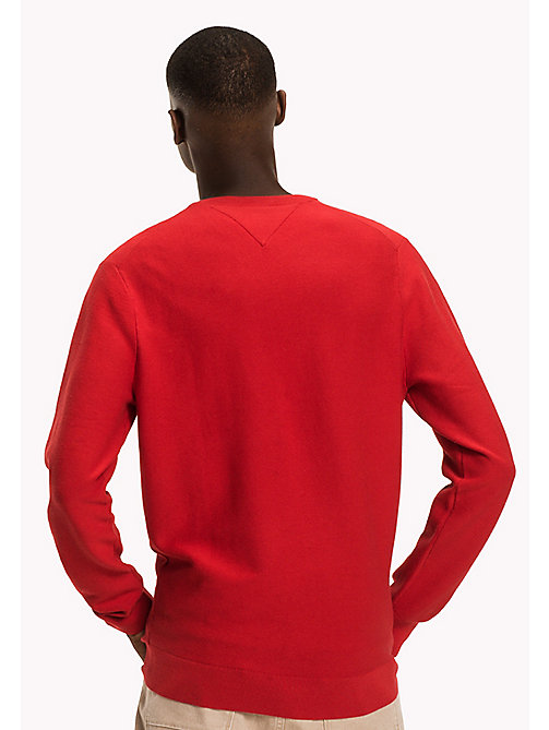 TOMMY HILFIGER Cotton Blend Crew Neck - HAUTE RED - TOMMY HILFIGER Jumpers - detail image 1