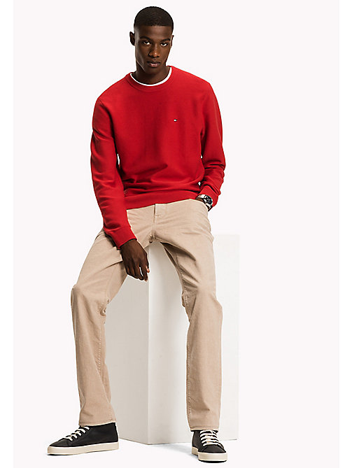 TOMMY HILFIGER Cotton Blend Crew Neck - HAUTE RED - TOMMY HILFIGER Jumpers - main image