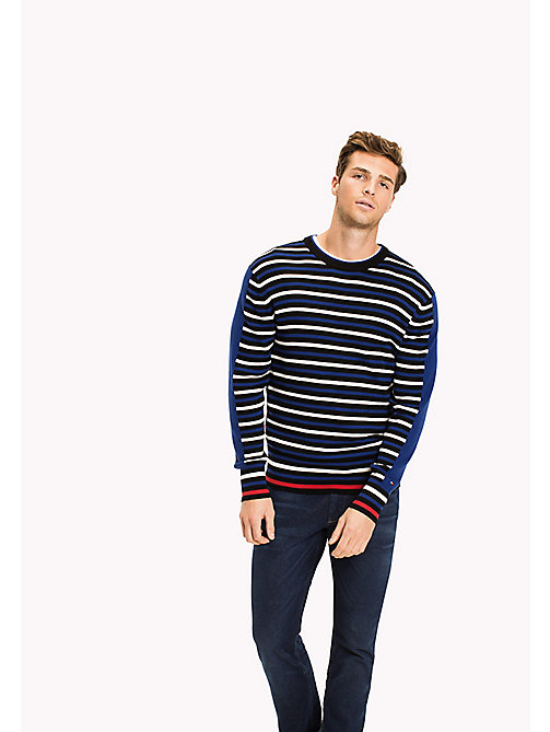 TOMMY HILFIGER Contrasting Stripe Regular Fit Jumper - JET BLACK - TOMMY HILFIGER Jumpers - main image