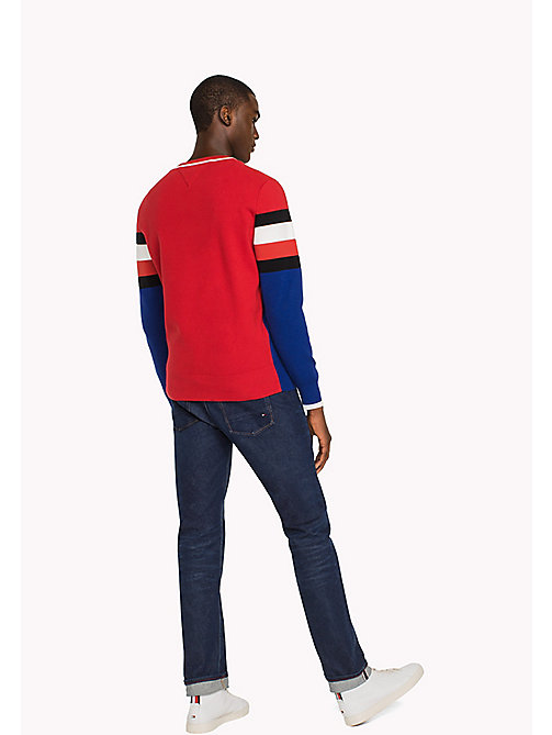 TOMMY HILFIGER Cotton Stripe Sweatshirt - HAUTE RED - TOMMY HILFIGER Sweatshirts & Knitwear - detail image 1