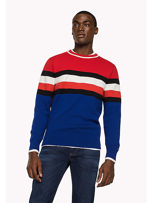 TOMMY HILFIGER Cotton Stripe Sweatshirt - HAUTE RED - TOMMY HILFIGER Sweatshirts & Knitwear - main image