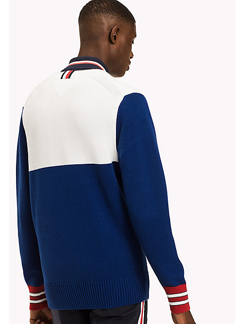 TOMMY HILFIGER Colour-Blocked Logo Jumper - SODALITE BLUE - TOMMY HILFIGER Jumpers - detail image 1