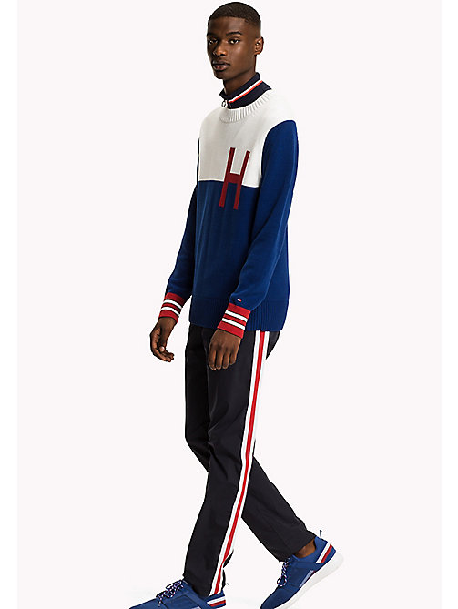TOMMY HILFIGER Colour-Blocked Logo Jumper - SODALITE BLUE - TOMMY HILFIGER Jumpers - main image