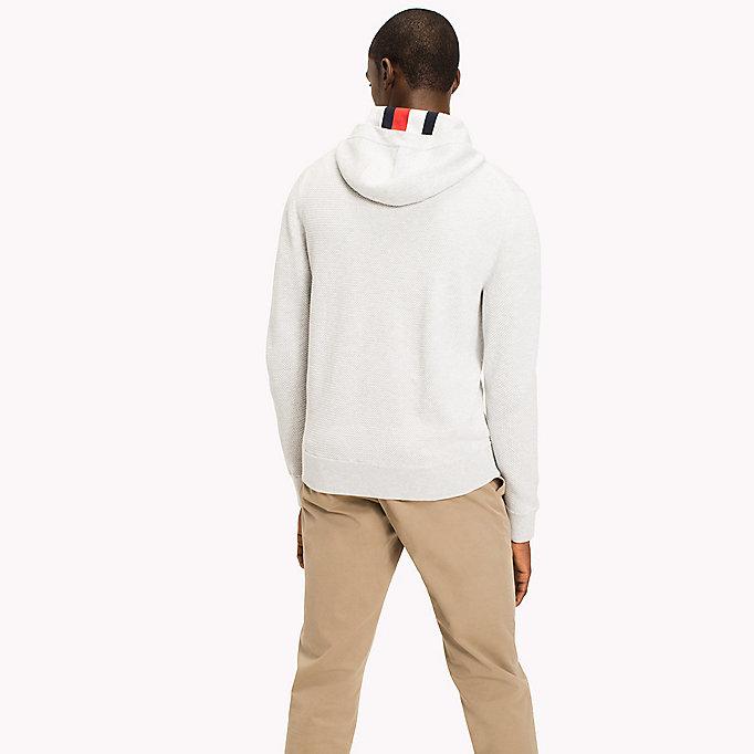 Teksturowana bluza z kapturem zapinana na zamek | GREY