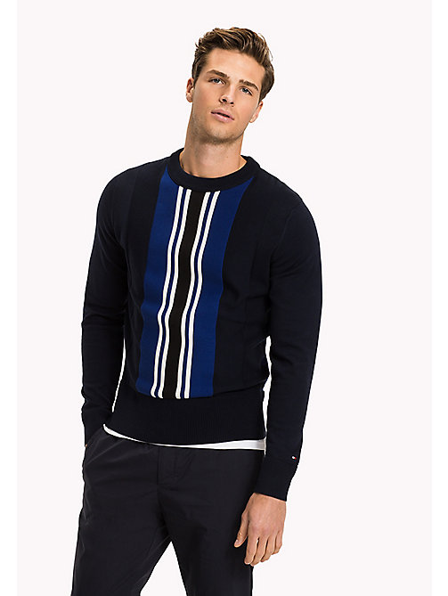 TOMMY HILFIGER Vertical Centre Stripe Jumper - NAVY BLAZER - TOMMY HILFIGER NEW IN - main image