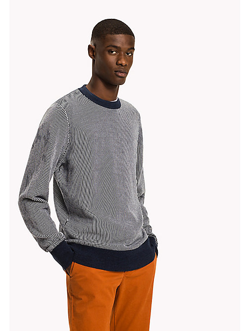 TOMMY HILFIGER Vertical Stripe Jumper - DARK DENIM HEATHER - TOMMY HILFIGER Nouveautés - image principale
