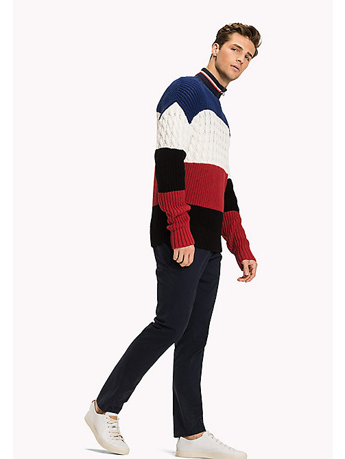 TOMMY HILFIGER Colour-Blocked Knitted Jumper - SODALITE BLUE - TOMMY HILFIGER Jumpers - main image