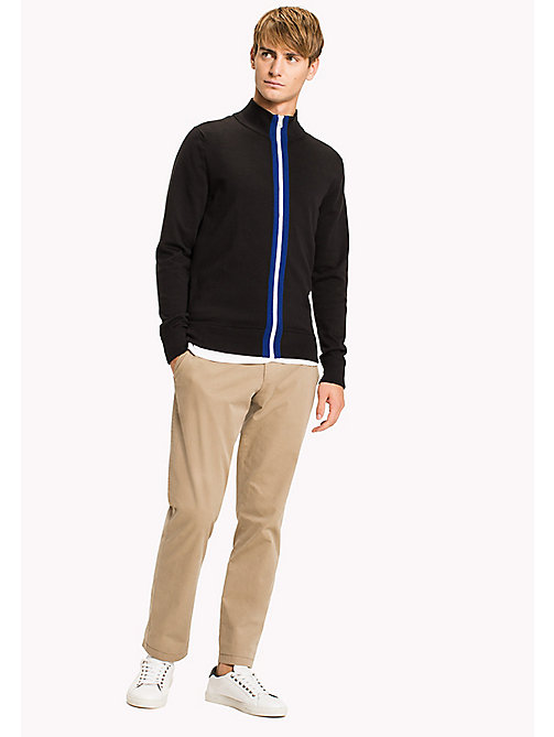 TOMMY HILFIGER Stripe Zip Jumper - JET BLACK - TOMMY HILFIGER Jumpers - main image