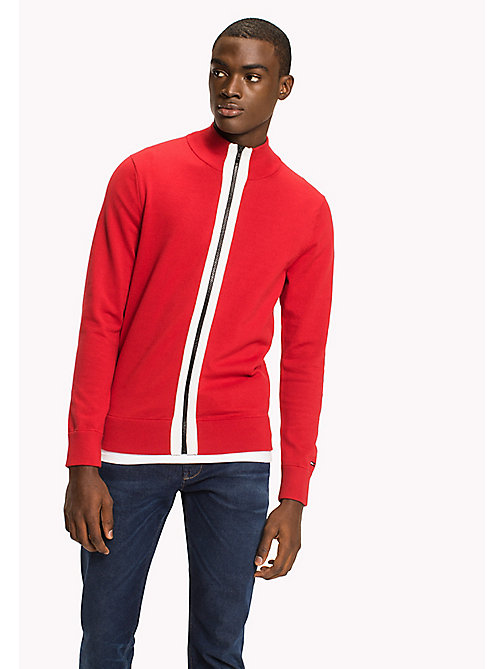 TOMMY HILFIGER Stripe Zip Jumper - HAUTE RED - TOMMY HILFIGER TOMMY'S PADDOCK - main image