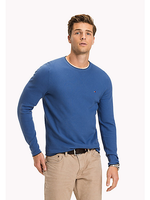 TOMMY HILFIGER Textured Crewneck Jumper - DUTCH BLUE - TOMMY HILFIGER Jumpers - main image