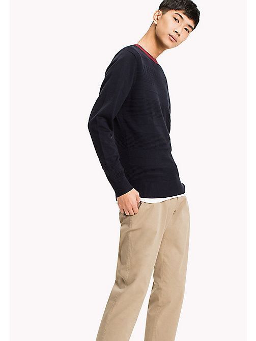 TOMMY HILFIGER Structured Crew Neck Jumper - SKY CAPTAIN - TOMMY HILFIGER Pullover - main image
