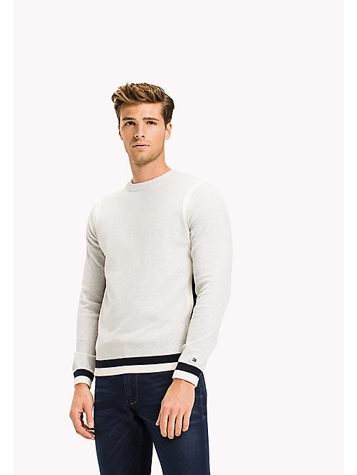 Accent Stripe Cotton Jumper - GRAY VIOLET HEATHER - TOMMY HILFIGER Clothing - main image