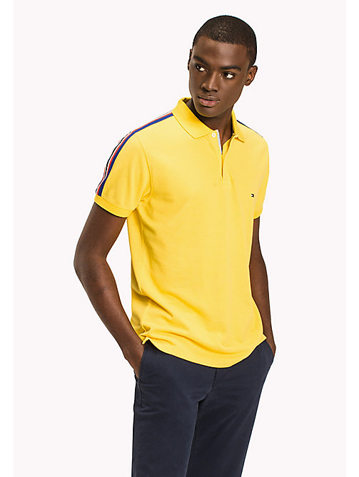 TOMMY HILFIGER Stripe Regular Fit Polo - LEMON - TOMMY HILFIGER Polo Shirts - main image