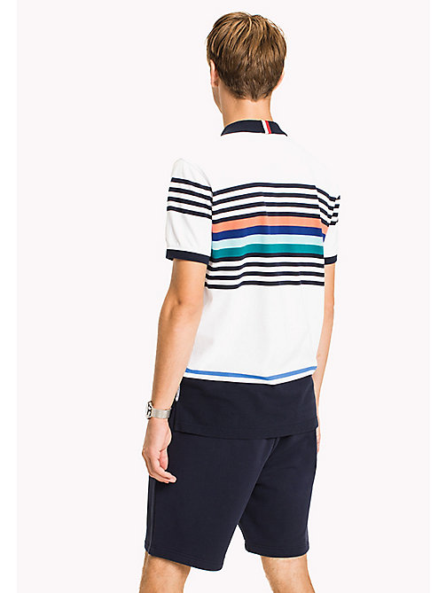 TOMMY HILFIGER Stripe Polo Shirt - BRIGHT WHITE MULTI - TOMMY HILFIGER Clothing - detail image 1