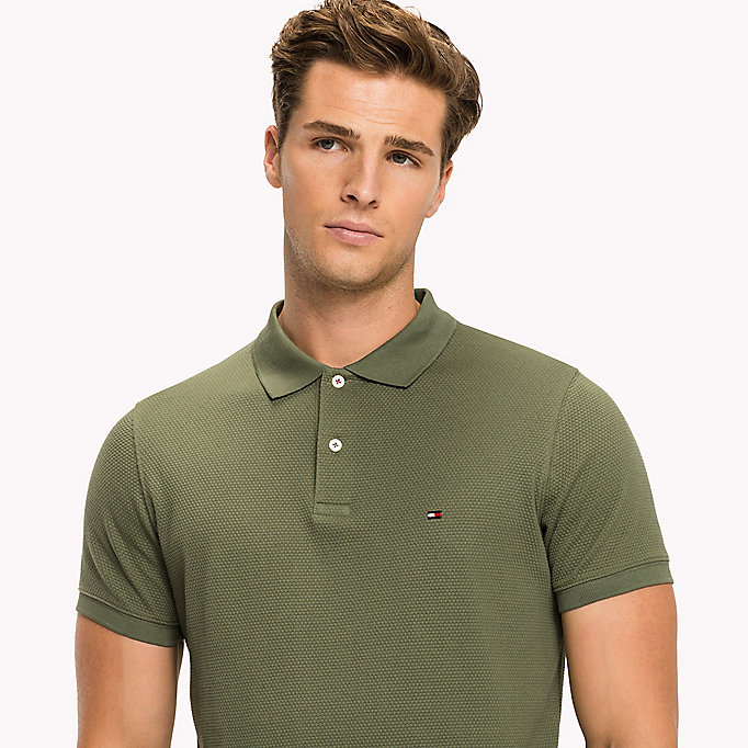TOMMY HILFIGER Diamond Texture Slim Fit Polo - SKY CAPTAIN - TOMMY HILFIGER Men - detail image 2