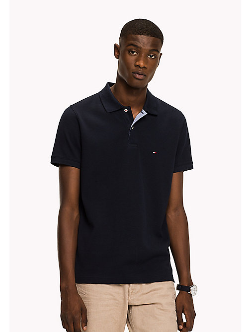 TOMMY HILFIGER Diamond Texture Slim Fit Polo - SKY CAPTAIN - TOMMY HILFIGER Polo Shirts - main image