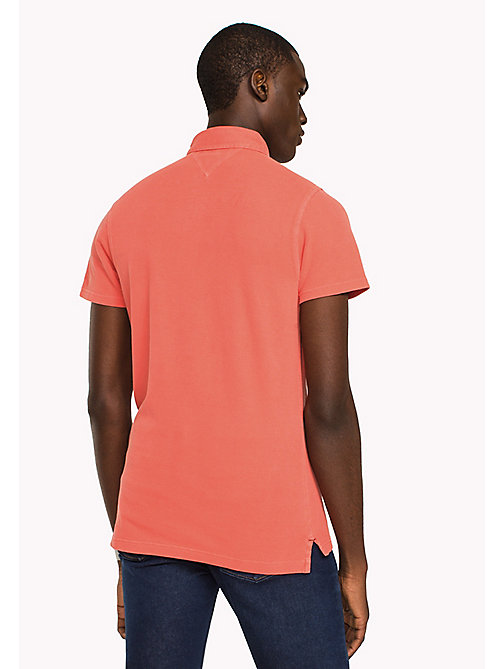 TOMMY HILFIGER Logo Collar Slim Fit Polo - HOT CORAL - TOMMY HILFIGER Polo Shirts - detail image 1