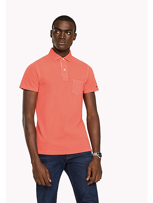 TOMMY HILFIGER Slim fit polo met logokraag - HOT CORAL - TOMMY HILFIGER T-Shirts & Polo's - main image