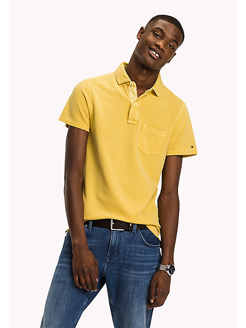 TOMMY HILFIGER Logo Collar Slim Fit Polo - LEMON - TOMMY HILFIGER Poloshirts - main image