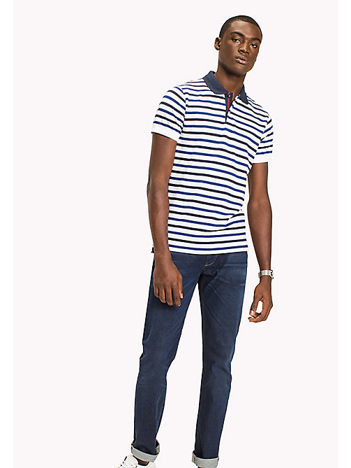TOMMY HILFIGER Breton Stripe Slim Fit Polo - BRIGHT WHITE / MULTI - TOMMY HILFIGER Polo Shirts - main image