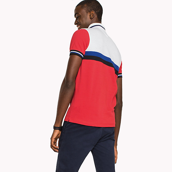 TOMMY HILFIGER Polo slim fit in color block - BRIGHT WHITE / MULTI - TOMMY HILFIGER Uomini - dettaglio immagine 1