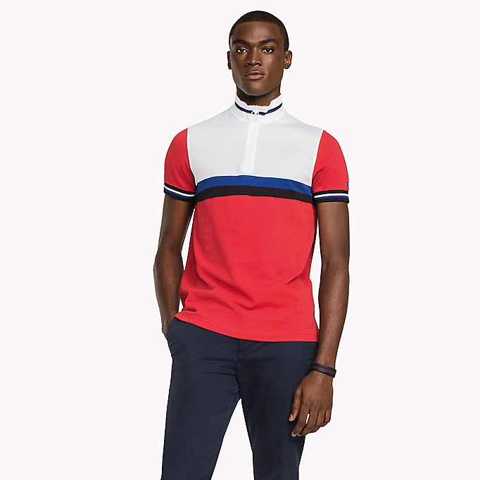 TOMMY HILFIGER Polo slim fit in color block - BRIGHT WHITE / MULTI - TOMMY HILFIGER Uomini - immagine principale