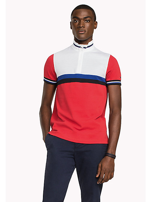 TOMMY HILFIGER Colour-Blocked Slim Fit Polo Shirt - HAUTE RED / MULTI - TOMMY HILFIGER Polo Shirts - main image