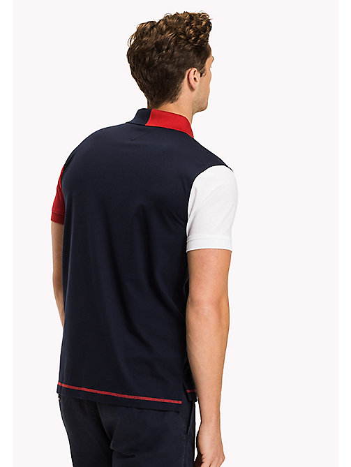 TOMMY HILFIGER Colour-Blocked Regular Fit Polo Shirt - NAVY BLAZER - TOMMY HILFIGER Polo Shirts - detail image 1