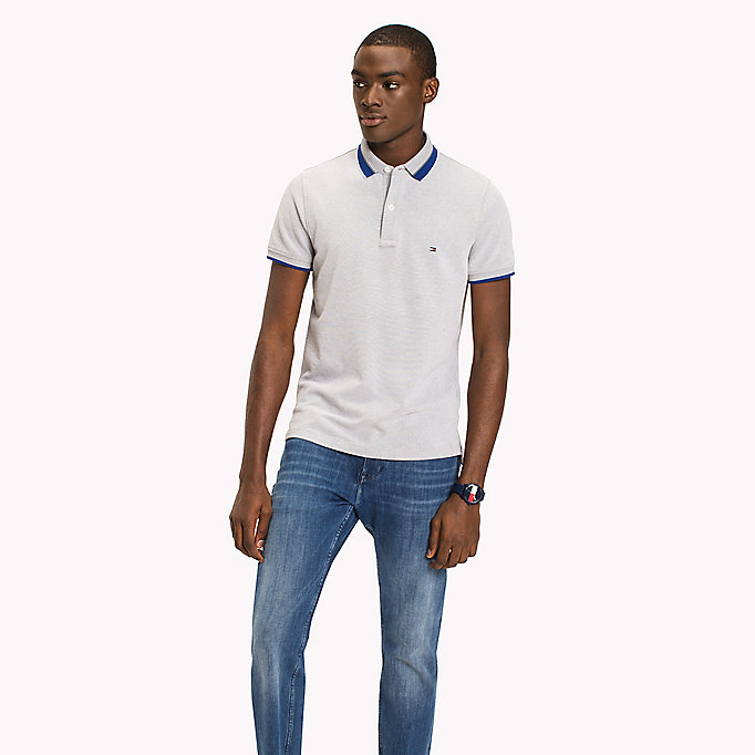 TOMMY HILFIGER Oxford Cotton Slim Fit Polo - CAPRI - TOMMY HILFIGER Clothing - main image