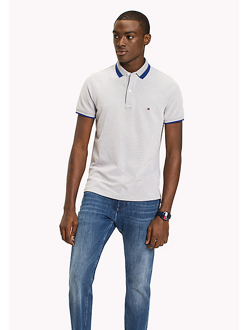 TOMMY HILFIGER Oxford Cotton Slim Fit Polo - GRANITE GRAY - TOMMY HILFIGER Polo Shirts - main image
