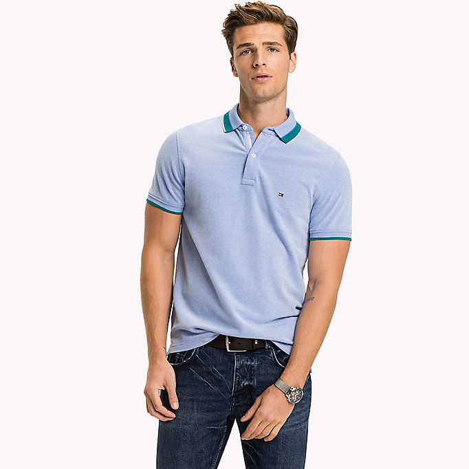 TOMMY HILFIGER Oxford Cotton Slim Fit Polo - HOT CORAL - TOMMY HILFIGER Clothing - main image