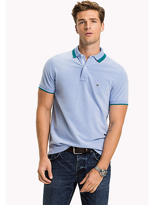 TOMMY HILFIGER Oxford Cotton Slim Fit Polo - REGATTA - TOMMY HILFIGER Polo Shirts - main image