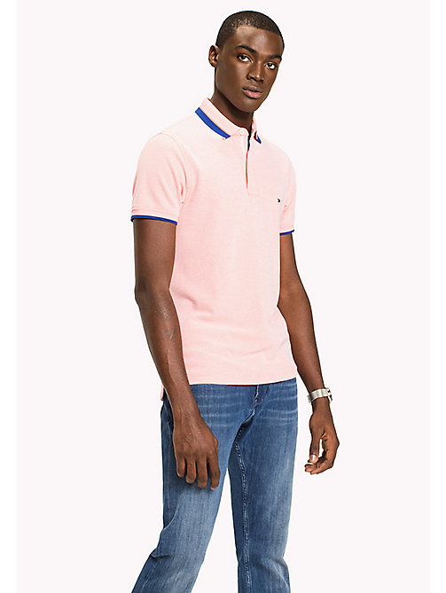 TOMMY HILFIGER Oxford Cotton Slim Fit Polo - HOT CORAL - TOMMY HILFIGER Polo Shirts - main image