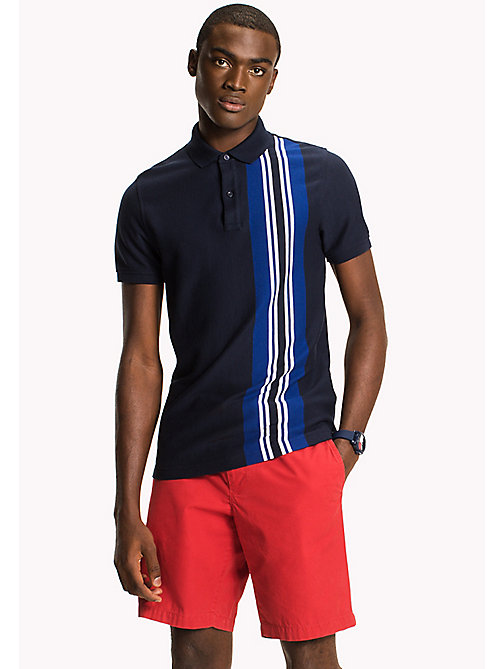Vertical Stripe Polo - NAVY BLAZER - TOMMY HILFIGER Clothing - main image