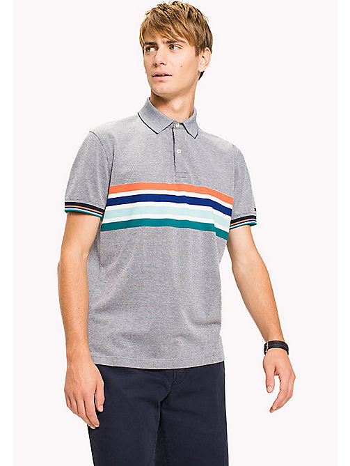 TOMMY HILFIGER Regular fit poloshirt met gestreepte borst - NAVY BLAZER -  T-Shirts & Polo's - main image