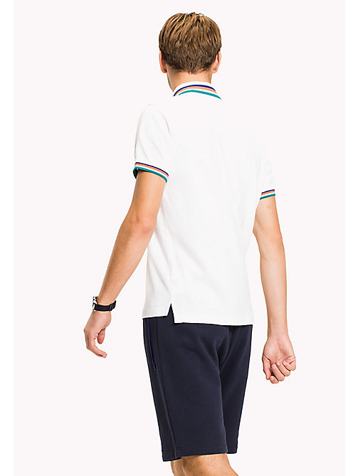 TOMMY HILFIGER Stripe Collar Slim Fit Polo Shirt - BRIGHT WHITE - TOMMY HILFIGER Polo Shirts - detail image 1