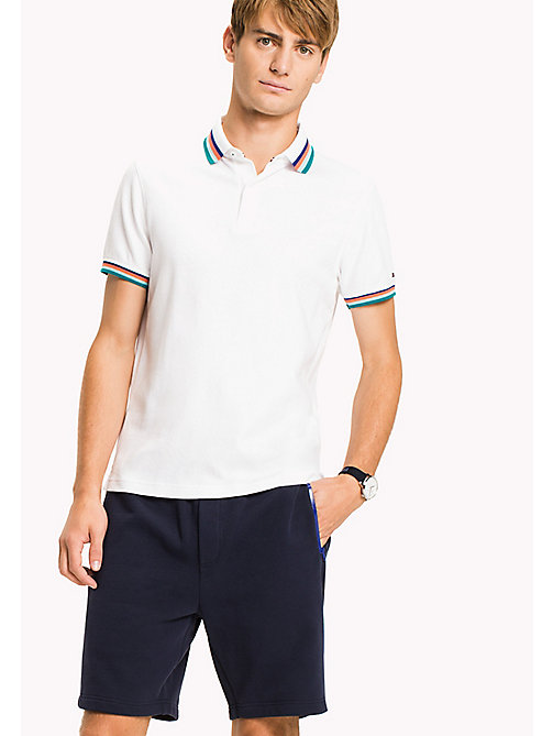 TOMMY HILFIGER Stripe Collar Slim Fit Polo Shirt - BRIGHT WHITE - TOMMY HILFIGER Polo Shirts - main image