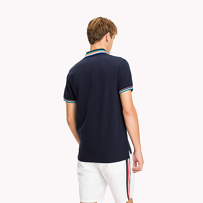 TOMMY HILFIGER Stripe Collar Slim Fit Polo Shirt - BRIGHT WHITE - TOMMY HILFIGER Men - detail image 1