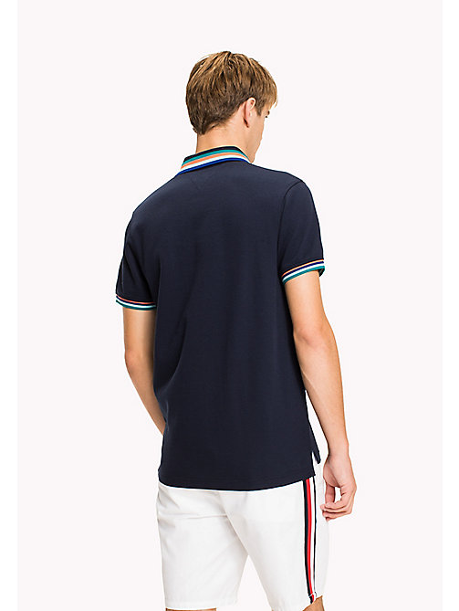 TOMMY HILFIGER Stripe Collar Slim Fit Polo Shirt - NAVY BLAZER - TOMMY HILFIGER Polo Shirts - detail image 1