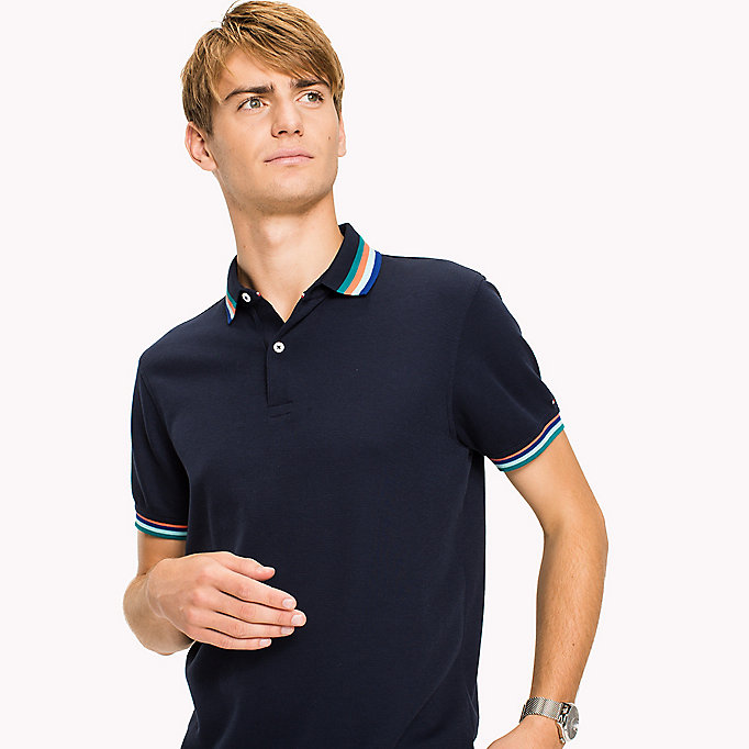 TOMMY HILFIGER Stripe Collar Slim Fit Polo Shirt - BRIGHT WHITE - TOMMY HILFIGER Men - detail image 2