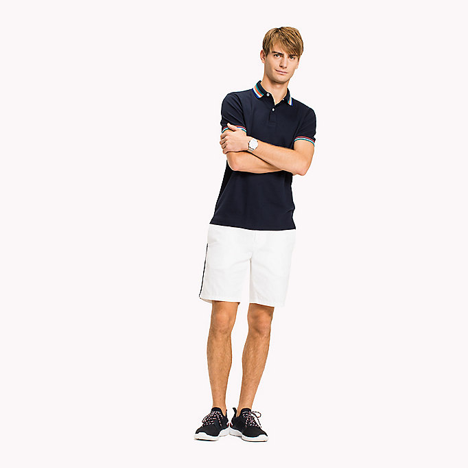 TOMMY HILFIGER Stripe Collar Slim Fit Polo Shirt - BRIGHT WHITE - TOMMY HILFIGER Men - main image