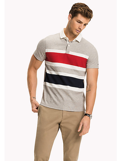 TOMMY HILFIGER Colour-Blocked Slim Fit Polo - CLOUD HTR - TOMMY HILFIGER NEW IN - main image