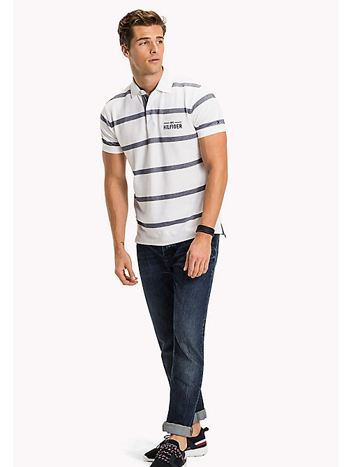 TOMMY HILFIGER Stripe Regular Fit Polo - BRIGHT WHITE - TOMMY HILFIGER Sustainable Evolution - main image