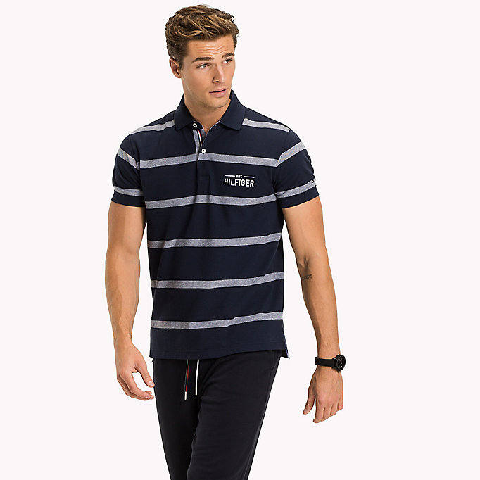 TOMMY HILFIGER Stripe Regular Fit Polo - BRIGHT WHITE - TOMMY HILFIGER Men - main image