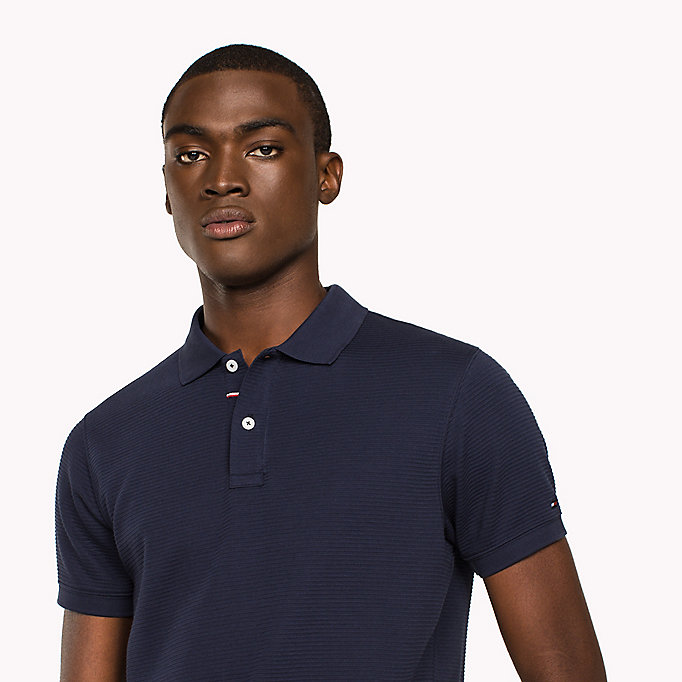 TOMMY HILFIGER Ribbed Slim Fit Polo - DUTCH BLUE - TOMMY HILFIGER Clothing - detail image 2